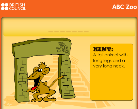 http://learnenglishkids.britishcouncil.org/en/word-games/hangman/abc-zoo