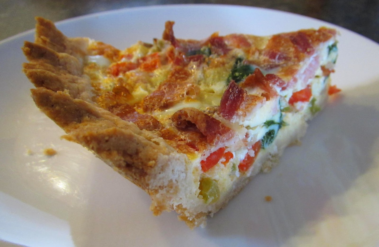 Bacon, Cheddar and Veggie Quiche with GF buttermilk pastry crust