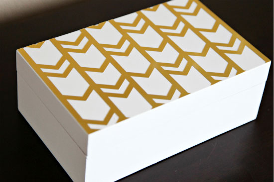 i love the gold against the white feels so fun fresh and hip something my studio will totally need the pattern makes me bright eyed and grinning big - Decorative Box