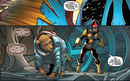 Two comics panels, one atop the other. In the top panel, a word balloon sticking out of a space structure reads, 'I can't believe I'm talking to a dog.' In the lower panel, Cosmo walks through a tubular corridor with Nova, a boy in a black and gold superhero costume, behind him. Cosmo says, 'You wear magic helmet. Cosmo thinks maybe you surprise too easy.' Nova replies, 'My helmet's not magic. I think.'