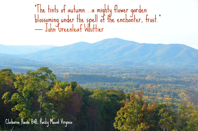 Franklin county virginia in the fall - from the Claiborne House Bed and breakfast va