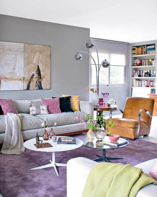 Spacious Purple Living Room Particular Strong Retro Pieces Are Mixed
