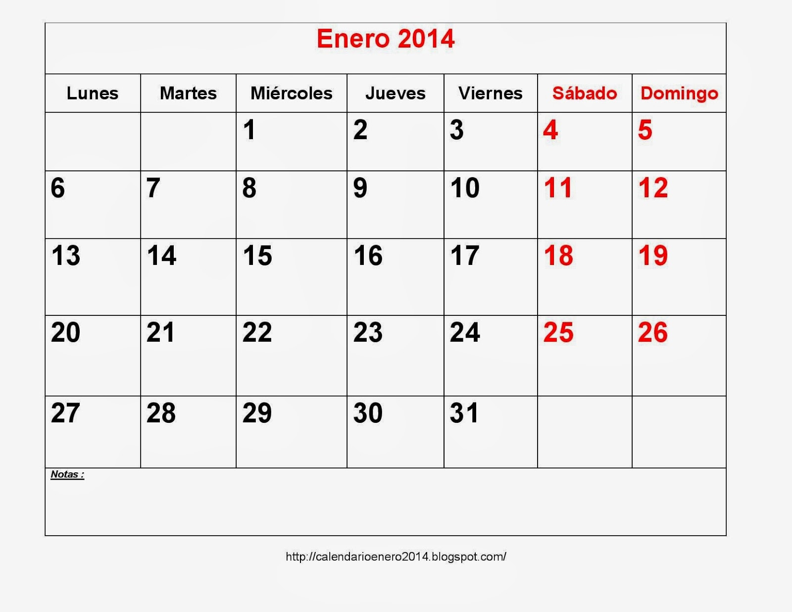 Calendarios Enero 2014 Para Imprimir Con Notas - Calendario Para ...