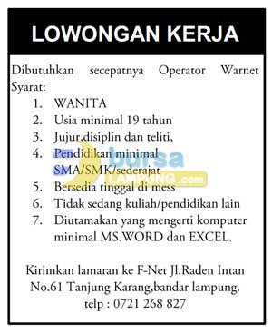 Lowongan Kerja F-Net Lampung
