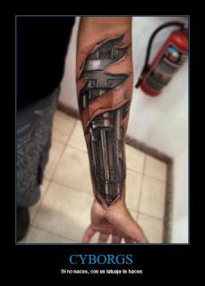 bio-mechanical tattoo on the forearm