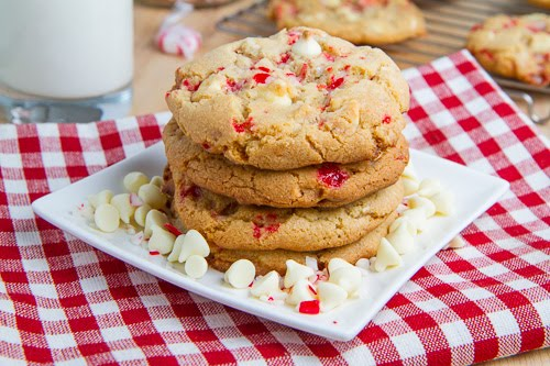 Peppermint White Chocolate Chip Cookies on Closet Cooking