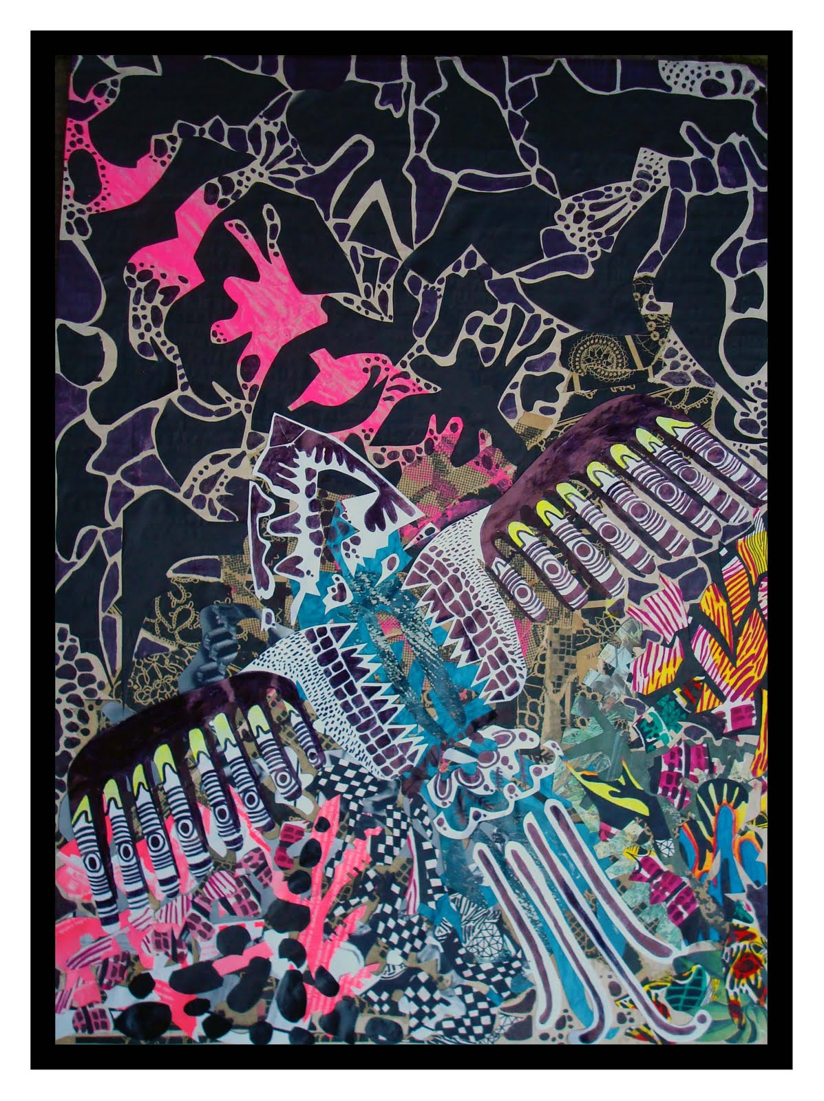 maravilla :::: : Collages y dibujos hechos con desechos
