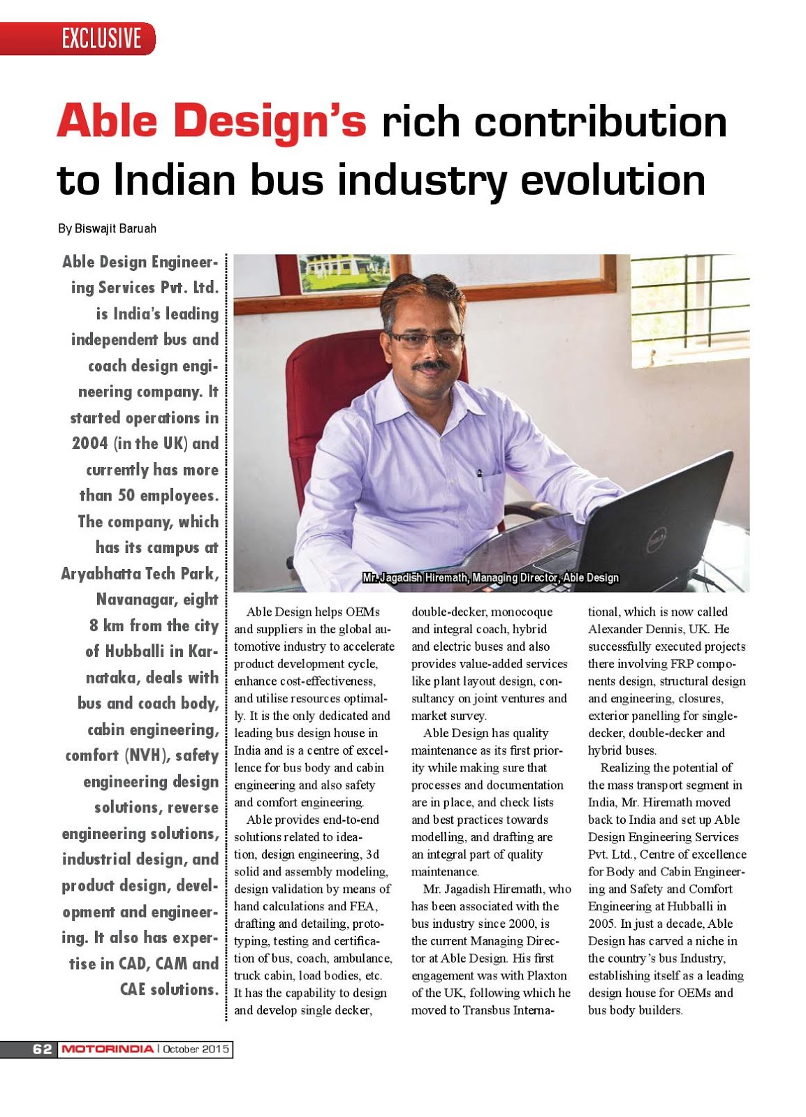 MOTOR INDIA ARTICLE 1 : ABLE DESIGN HUBBALLI, KARNATAKA