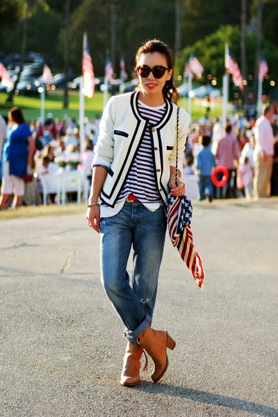 Street Wear, 4th of July Outfit, US Flag Scarf, Striped Shirt