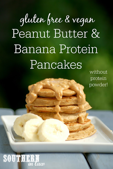 Gluten Free Peanut Butter and Banana Protein Pancakes Recipe | gluten free, vegan, healthy, sugar free, clean eating, low fat