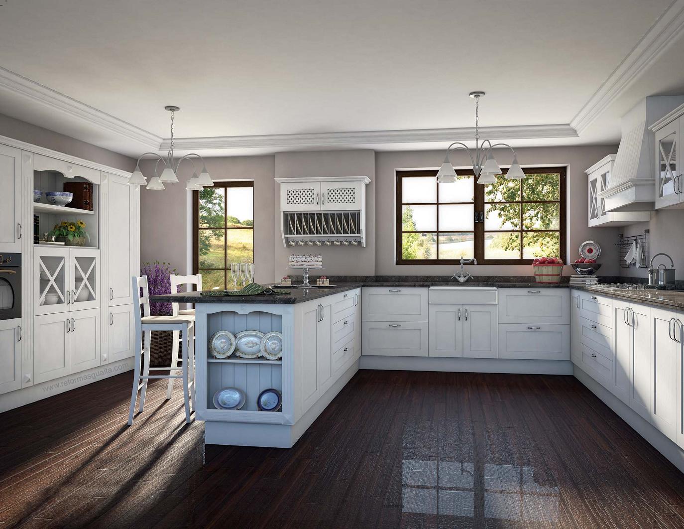 Cocinas rusticas en blanco cocinas rusticas estantes - Muebles casa de campo ...