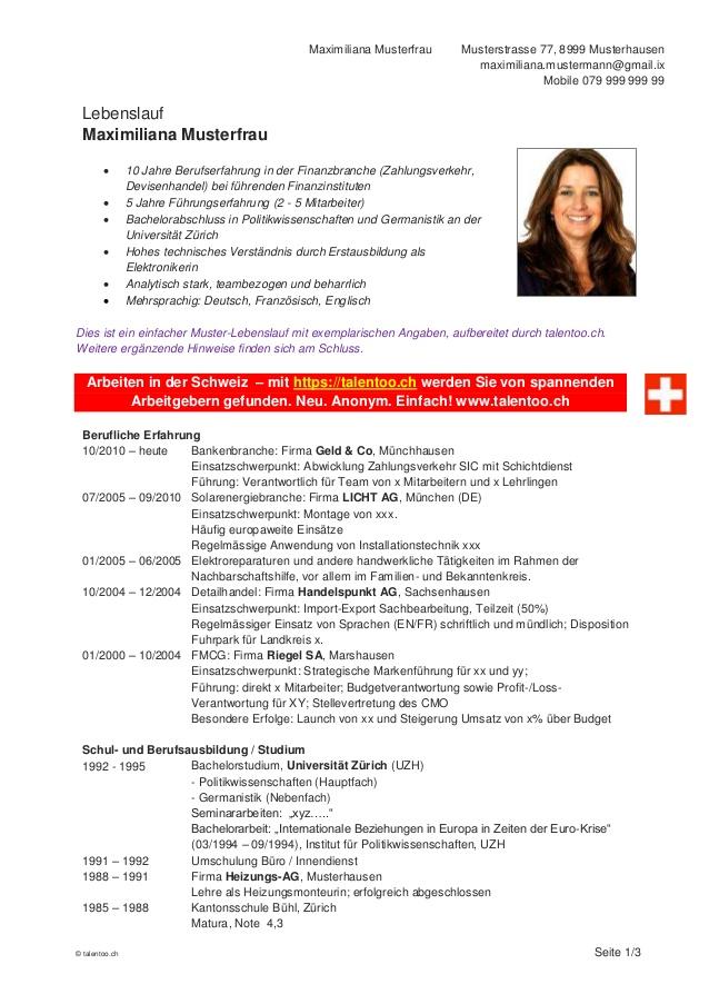 vorlagen - Lebenslauf Schweiz