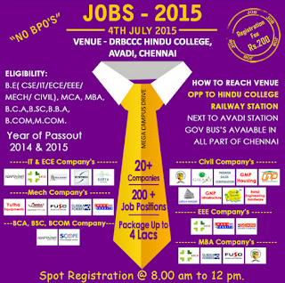 Job Fair for IT and Core Engineering  2014 & 2015 Passout Candidates on 4th July 2015
