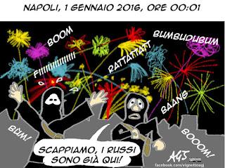 Napoli, ISIS, botti, capodanno, 2016, fuochi d'artificio, satira vignetta