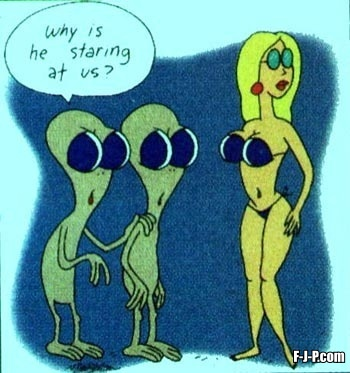 Aliens staring at woman in a bikini