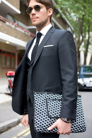 street style london collections men menswear clutch