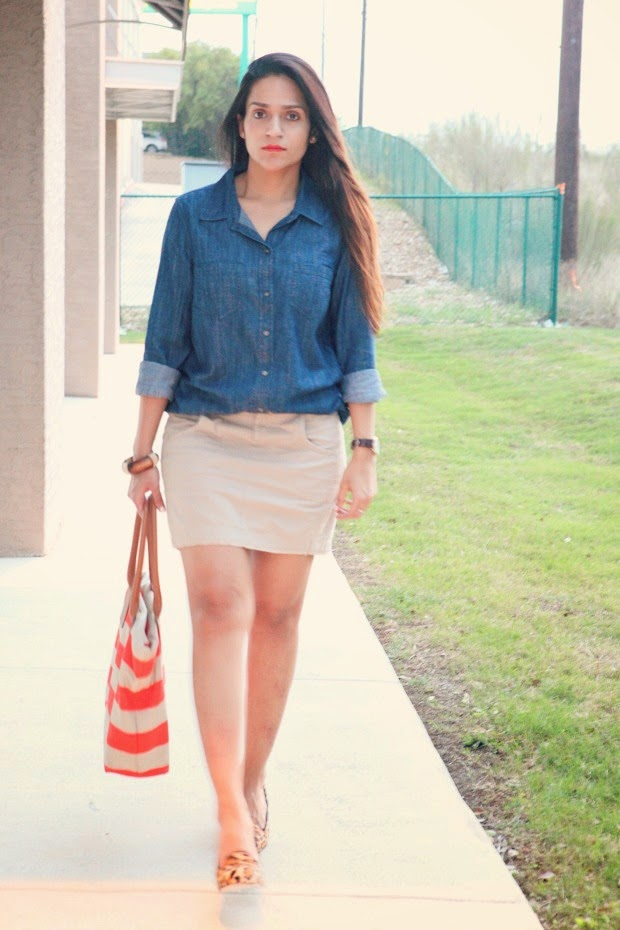 Chambray Skirt - GAP, Cotton Skirt - French Connection, Leopard Pumps - Cole Haan, Tanvii.com