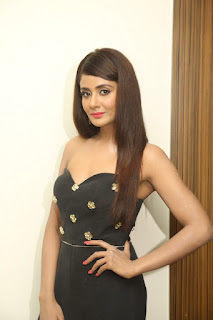 Parul Yadav in a Black Deep Neck Sleeveless Top and Black Trousers at Upendra 2 Movie Audio Release