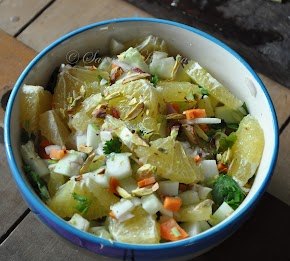 A salad with Sweet Lime, Cucumber and pistachios...