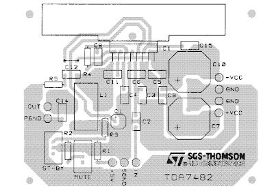 PCB layout TDA7482 Audio Amplifier 1 x 25W
