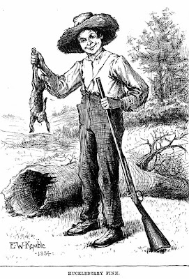 Huckleberry Finn with rabbit clipart