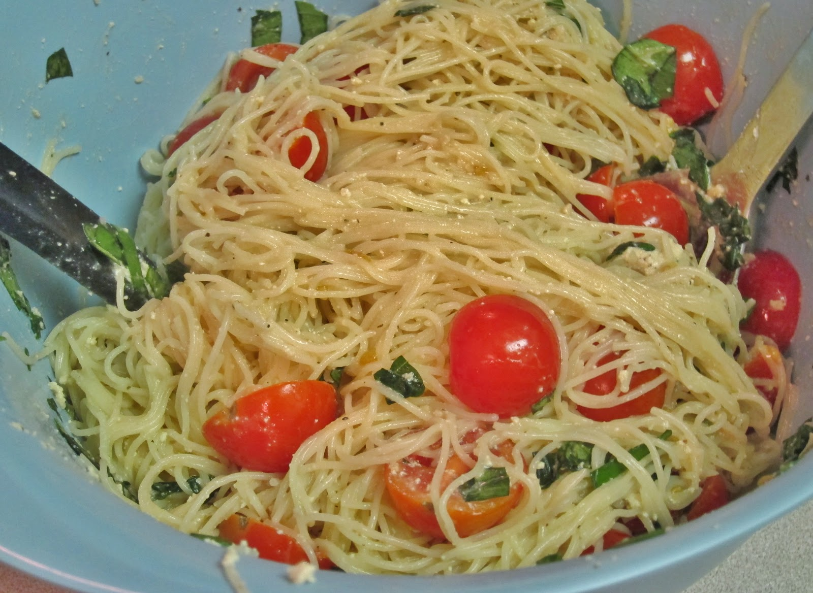 The Vegan Chronicle: Pasta with Herbed Goat Cheese and Cherry Tomatoes