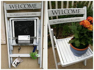 chair makeover/chair with chalkboard, keyholder decor