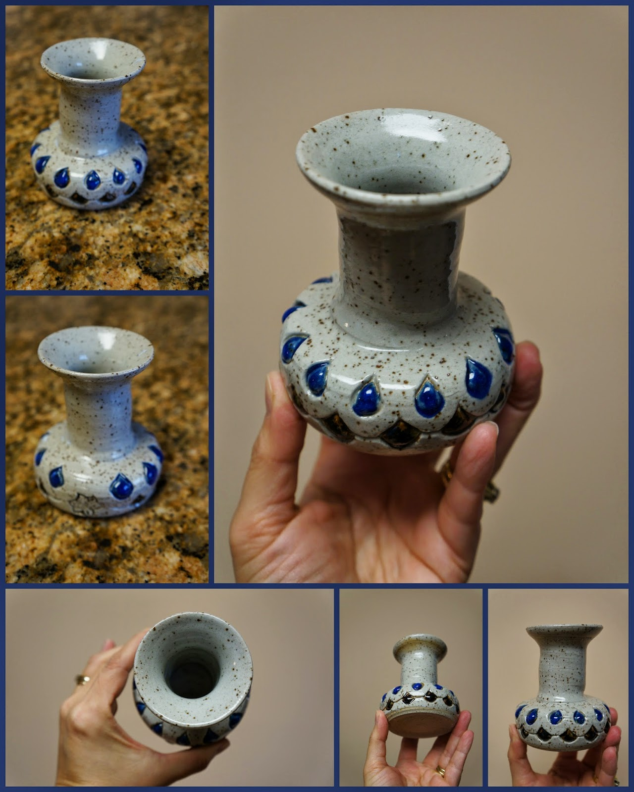 Unique handmade pottery / stoneware double-walled thrown vase with faux jewel design.