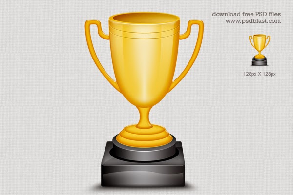 Gold Trophy Cup Icon PSD
