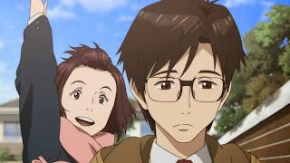Shinichi Izumi oraz jego przyjaciółka Satomi Murano w drodze do szkoły