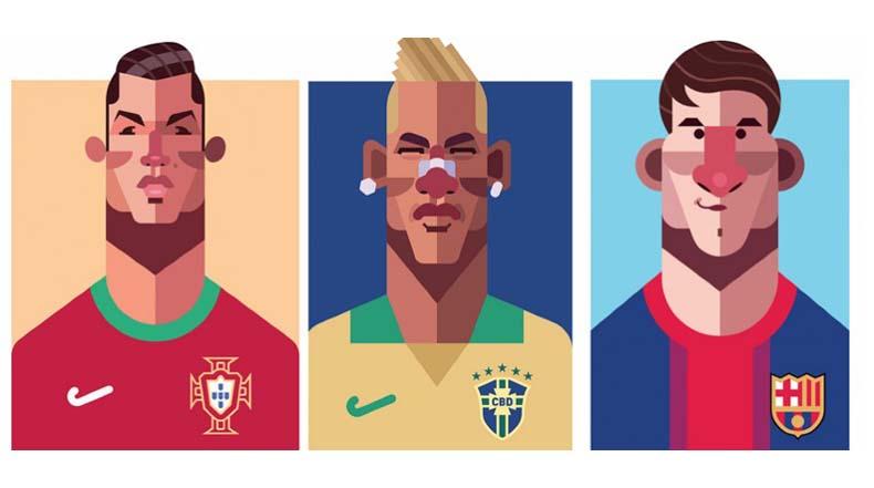 Ilustración vectorial de jugadores de fútbol por Daniel Nyari