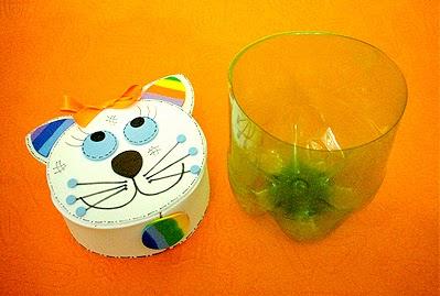 porta guloseimas para dia das crianças com reciclagem de garrafa pet