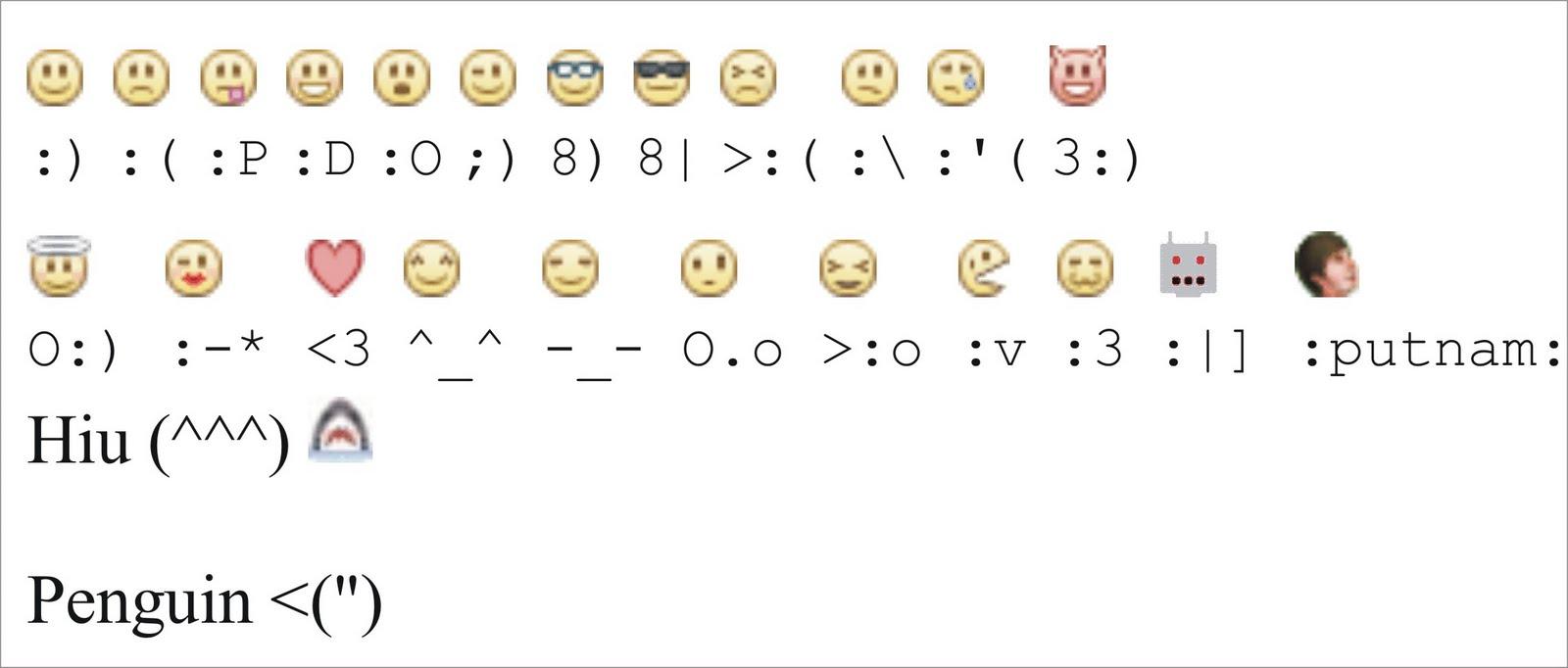 Emoticon Facebook Smiley Codes
