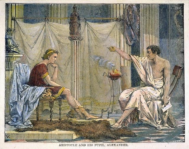 Aristóteles instruye a Alejandro Magno. Fuente wikipedia
