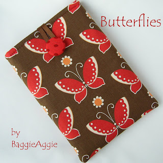 Butterflies handmade fabric ereader / tablet case sleeve cover for Kindle, Nexus 7, ipad Mini, Galaxy Tab, Kobo Touch, Blackberry Plabook.