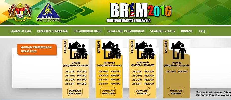Jadual Pembayaran Bantuan Rakyat 1 Malaysia Br1m 2016 Oh Buletin Media Informasi Malaysia