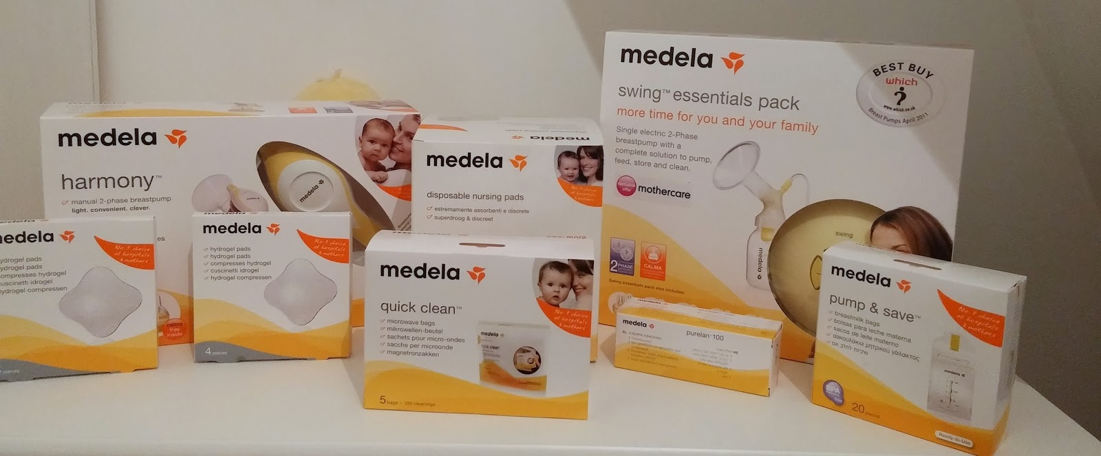 Medela breastfeeding accessories breast pumps, pump & save bags, steriliser bags, nipple cream, nipple pads
