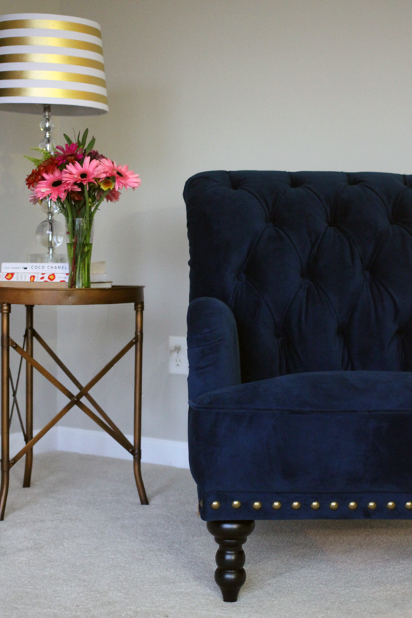 pier 1 imports tufted navy chas chair, gold nail head studs, interior,