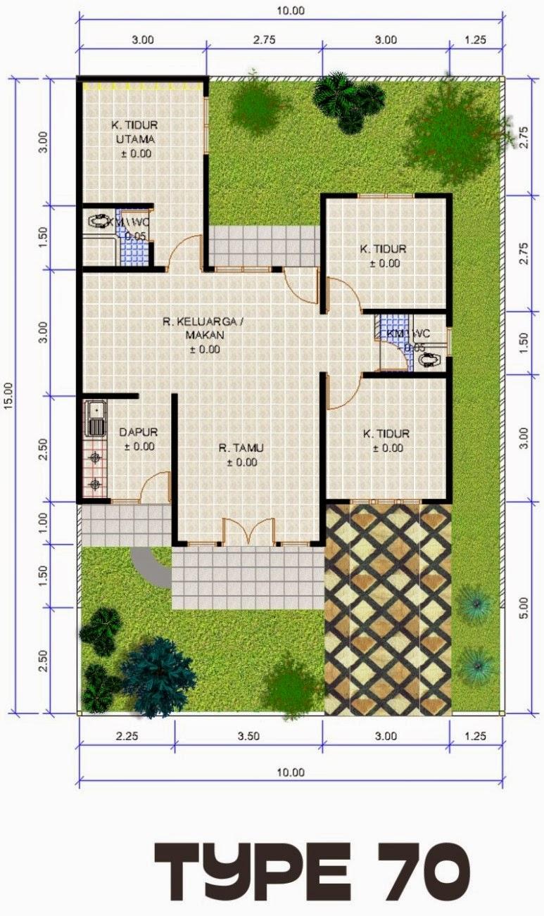 sketsa rumah type 70 dengan 3 kamar tidur