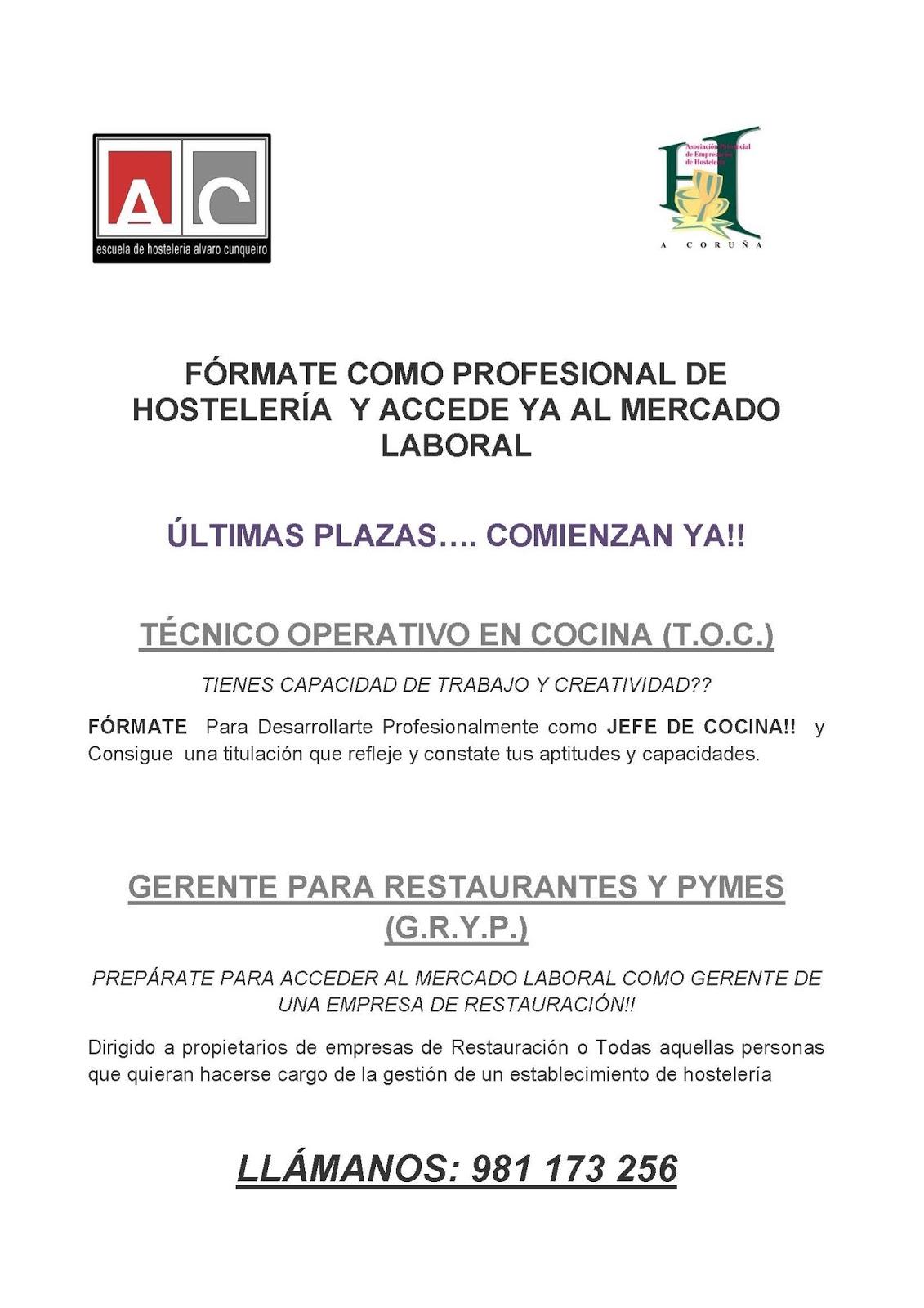 Mi mundo descubriendo escuela de hosteler a lvaro cunqueiro - Ofertas de empleo jefe de cocina ...