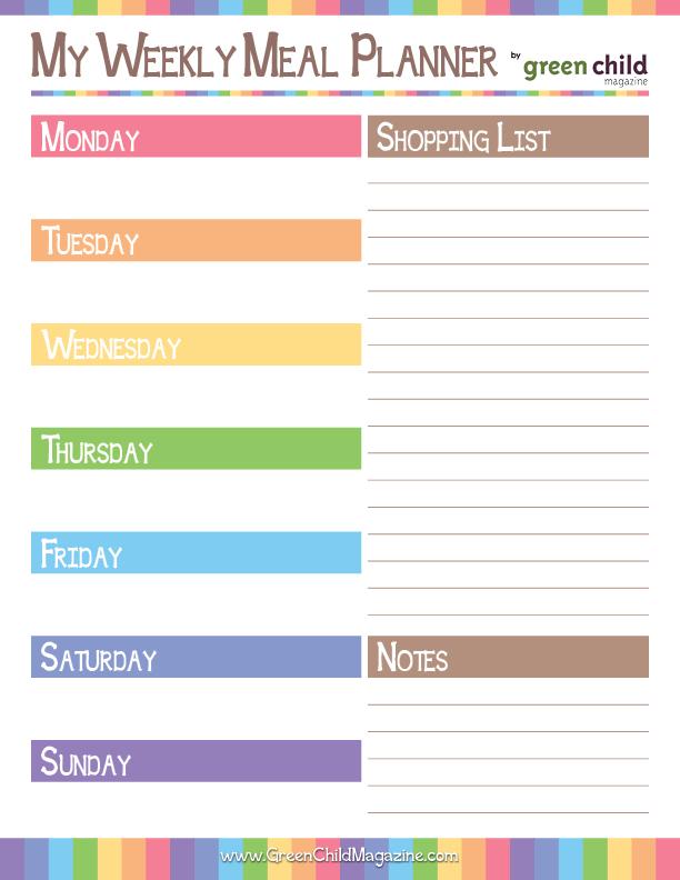 Haftalık Yemek Listesi Şablonları