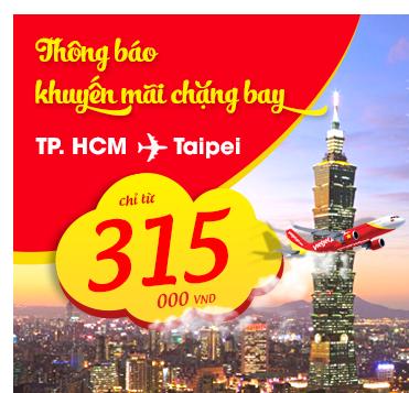 Vé máy bay đi Đài Bắc chỉ 315.000 đồng của Vietjet