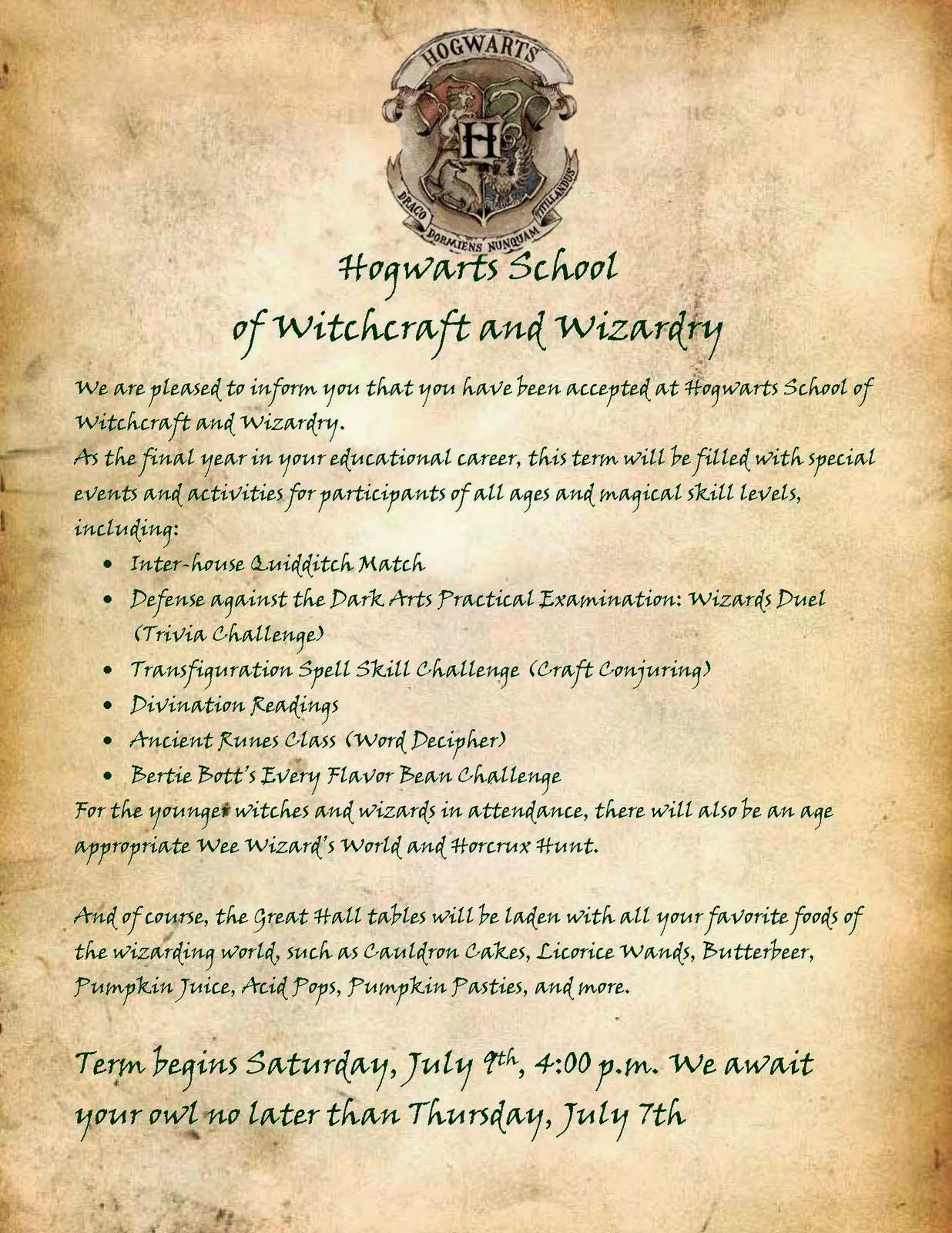 Letter from Hogwarts School of Witchcraft and Wizardry