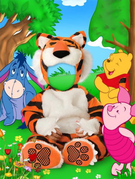 Plantilla para fotomontaje infantil de Tigger - Cute & Girly