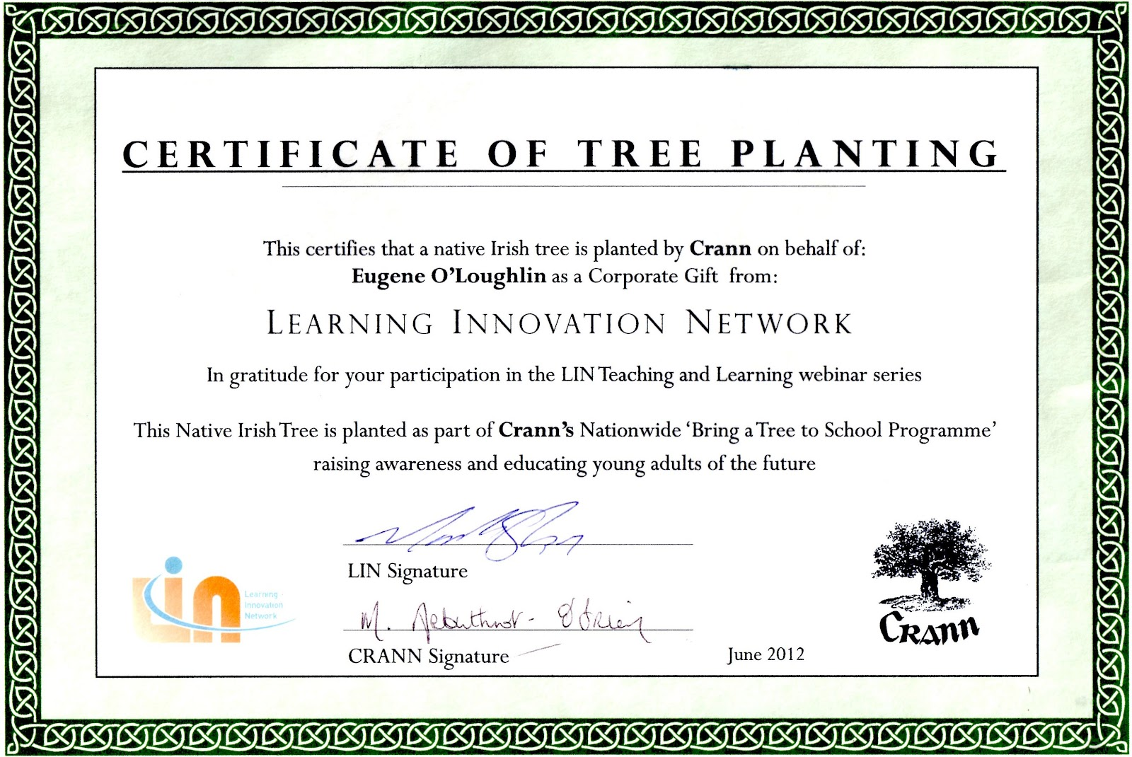 Sample certificate of appreciation for tree planting gallery careful with that axe eugene a native irish tree planted by crann presentation by webinar to yadclub Image collections