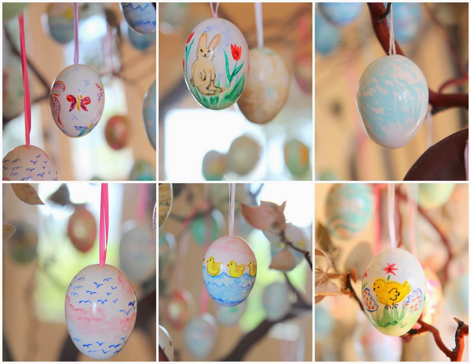 Watercolor Painted Eggs; Easter Egg Tree; Nora's Nest