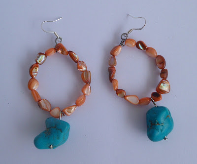 handmade shell and turquoise hoop earrings
