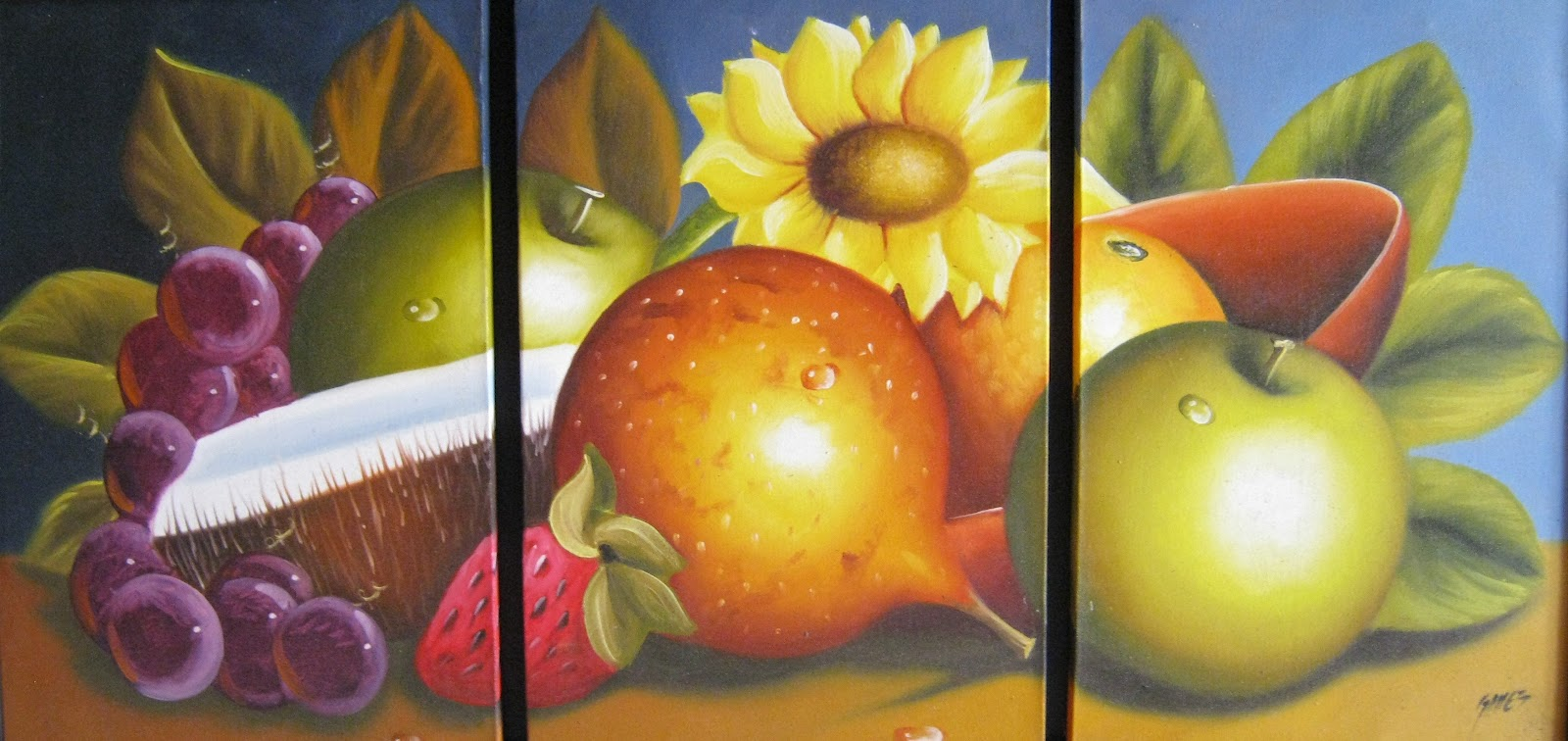 de frutas colombianas pintadas al oleo cuadros tripticos de bodegones