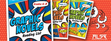 Panoramic slide image: The covers of graphic novel reading list brochures