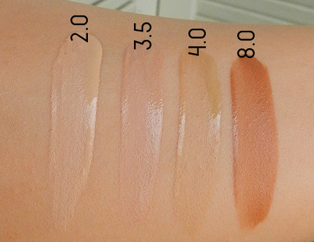 Urban Decay Naked Skin Foundation Swatches